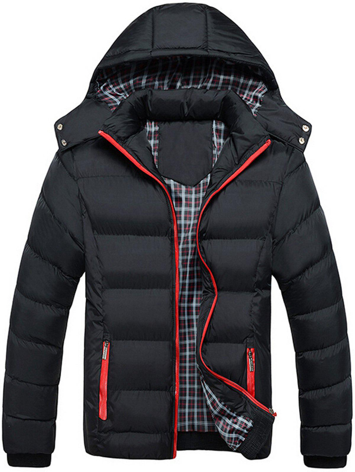 Contrast Zip Hooded Puffer JacketMEN<br><br>Size: XL; Color: BLACK; Clothes Type: Padded; Style: Casual,Fashion,Streetwear; Material: Cotton,Polyester; Collar: Hooded; Shirt Length: Regular; Sleeve Length: Long Sleeves; Season: Fall,Winter; Closure Type: Zipper; Occasion: Casual,Daily Use,Going Out; Weight: 0.8500kg; Package Contents: 1 x Jacket;