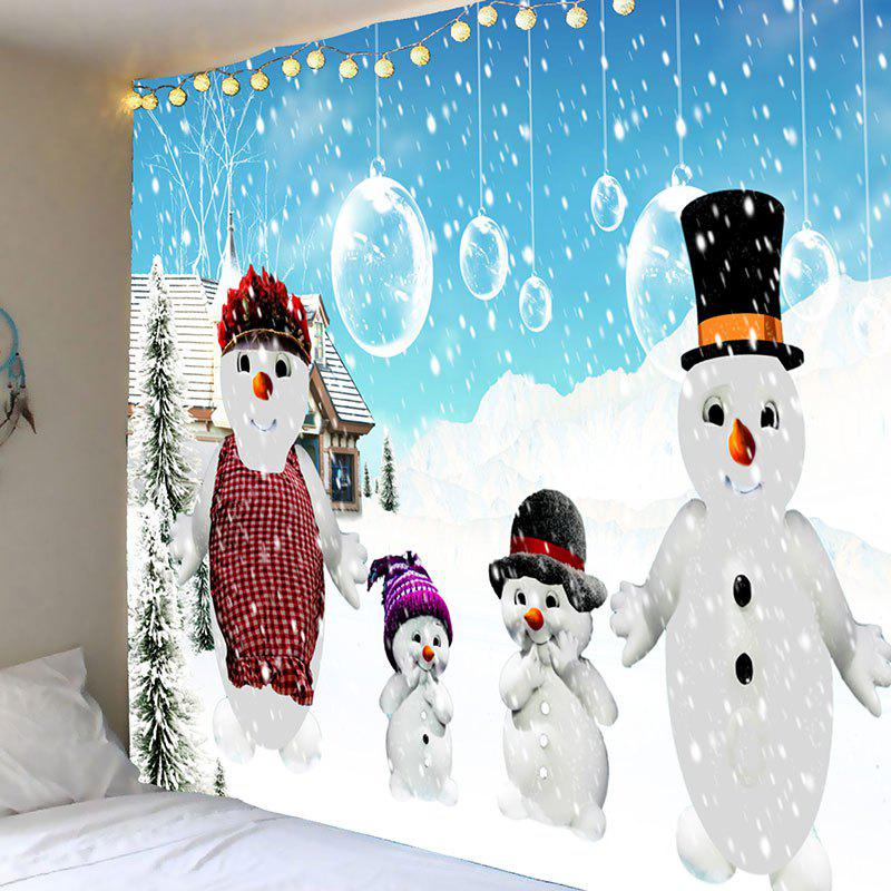 Snowy Christmas Snowmen Family Pattern TapestryHOME<br><br>Size: W71 INCH * L71 INCH; Color: BLUE AND WHITE; Style: Festival; Theme: Christmas; Material: Polyester; Shape/Pattern: Snow,Snowman; Weight: 0.3500kg; Package Contents: 1 x Tapestry;