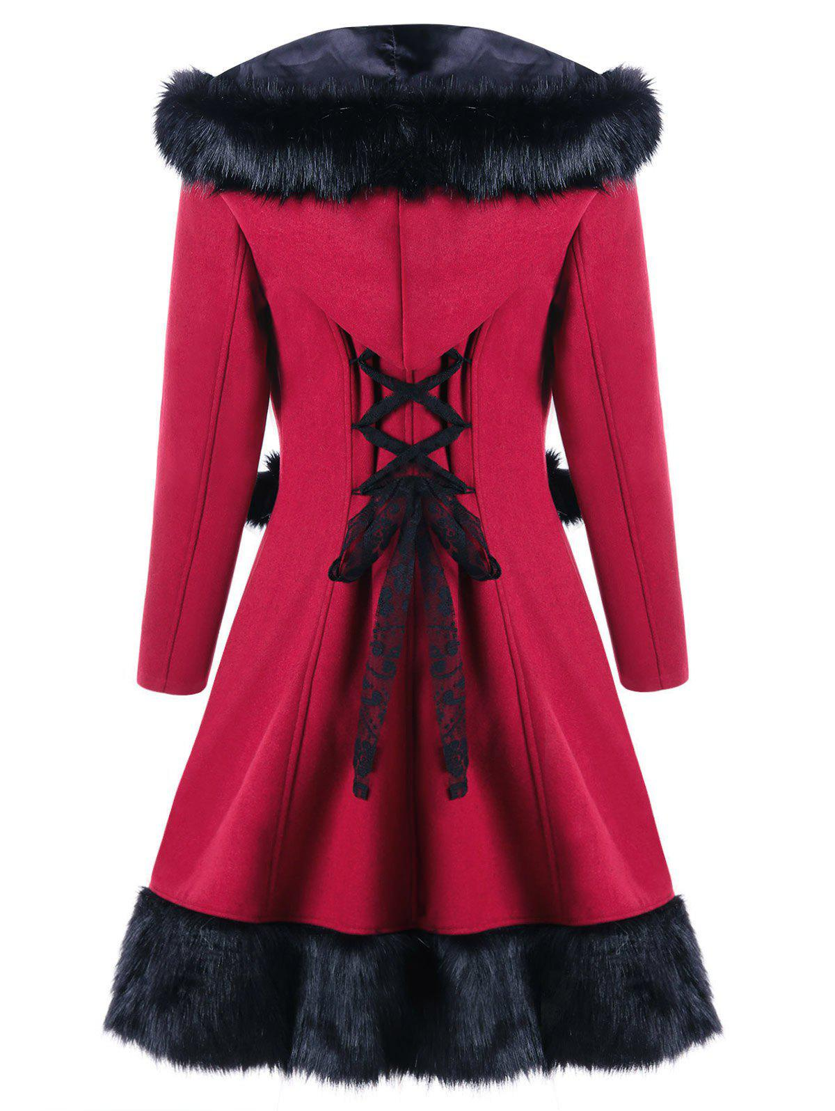 Hooded Faux Fur Panel Lace Up Longline CoatWOMEN<br><br>Size: L; Color: RED; Clothes Type: Wool &amp; Blends; Material: Faux Fur,Polyester; Type: Asymmetric Length; Shirt Length: Long; Sleeve Length: Full; Collar: Hooded; Closure Type: Single Breasted; Pattern Type: Others; Style: Fashion; Season: Fall,Winter; With Belt: No; Weight: 1.0700kg; Package Contents: 1 x Coat;