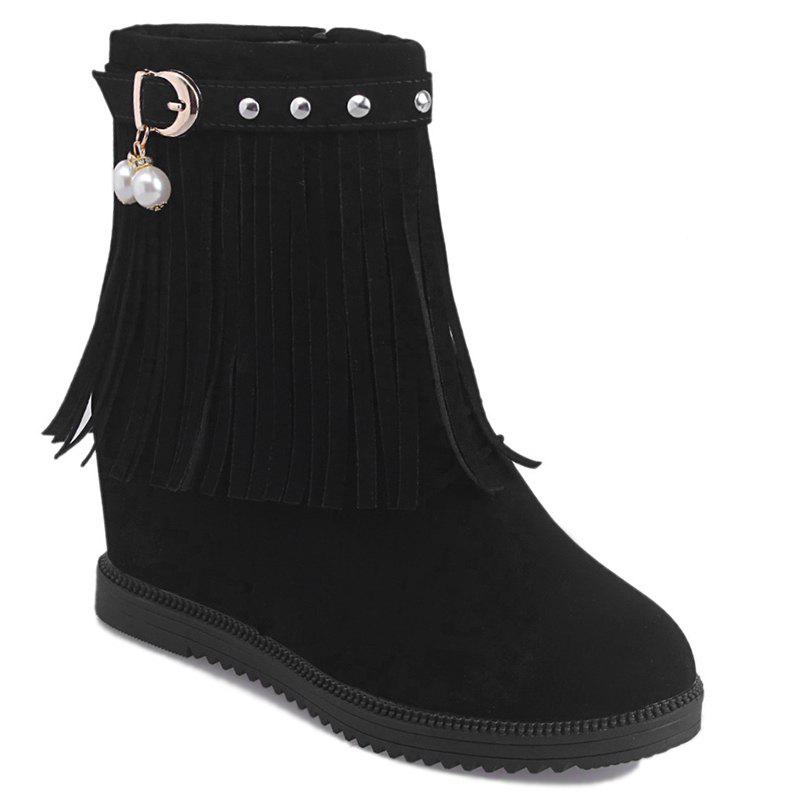Store Height Increase Faux Pearl Fringe Rivets Boots