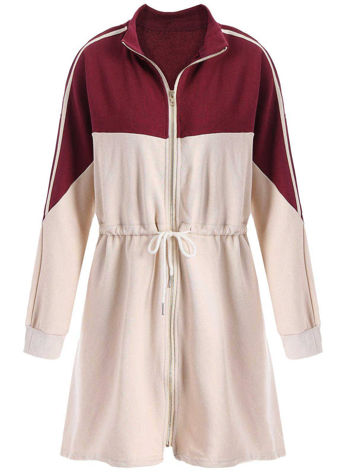 Affordable Drawstring Plus Size Contrast Zip Up Long Coat