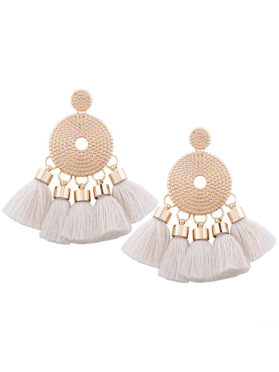 Alloy Tassel Round EarringsJEWELRY<br><br>Color: WHITE; Earring Type: Drop Earrings; Gender: For Women; Style: Trendy; Shape/Pattern: Tassel; Length: 7.5CM; Weight: 0.0340kg; Package Contents: 1 x Earring (Pair);