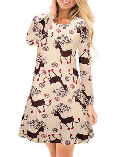 Snowflake Deer Printed Long Sleeves DressWOMEN<br><br>Size: L; Color: APRICOT; Style: Casual; Material: Cotton,Polyester; Silhouette: A-Line; Dresses Length: Mini; Neckline: Round Collar; Sleeve Length: Long Sleeves; Pattern Type: Animal,Print; With Belt: No; Season: Fall; Weight: 0.3000kg; Package Contents: 1 x Dress;