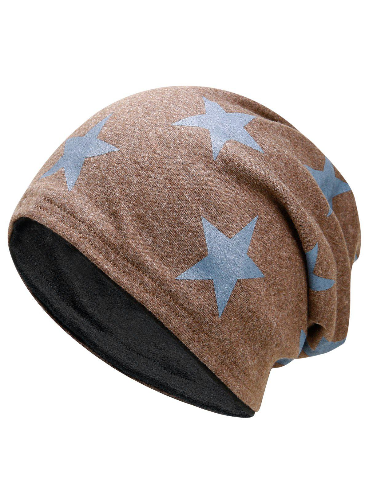 Outdoor Star Pattern Embellished Reversible Lightweight BeanieACCESSORIES<br><br>Color: KHAKI; Hat Type: Skullies Beanie; Group: Adult; Gender: For Men; Style: Fashion; Pattern Type: Star; Material: Polyester; Weight: 0.1200kg; Package Contents: 1 x Hat;
