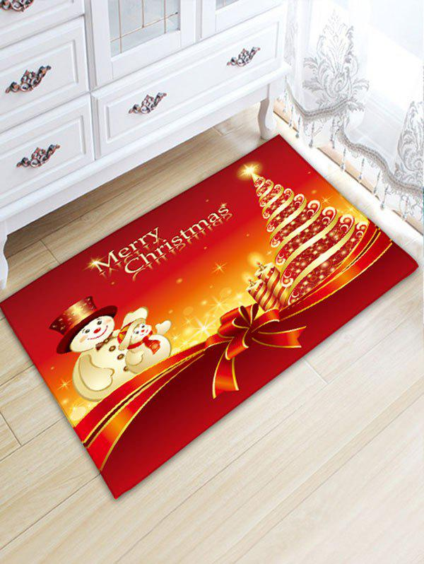 Christmas Tree and Two Snowmen Print Nonslip Flannel Bath MatHOME<br><br>Size: W20 INCH * L31.5 INCH; Color: RED; Products Type: Bath rugs; Materials: Flannel; Pattern: Christmas Tree,Snowman; Style: Festival; Shape: Rectangular; Package Contents: 1 x Rug;