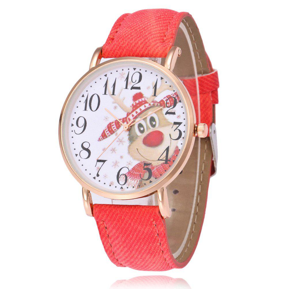 Unique Faux Leather Strap Christmas Deer Face Watch