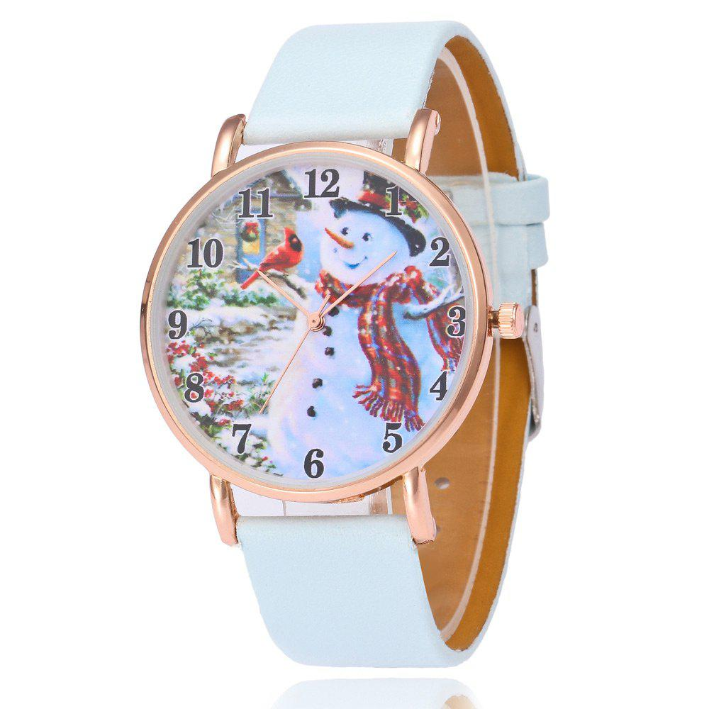 Faux Leather Strap Christmas Snowman Face WatchJEWELRY<br><br>Color: LIGHT BLUE; Gender: For Women; Style: Fashion; Type: Quartz watch; Index Dial: Analog; Case material: Alloy; Band material: PU Leather; Movement: Quartz; Dial Shape: Round; Water-Proof: No; Case Thickness(MM): 8mm; Dial Diameter: 4cm; Band Length(CM): 24cm; Band Width(CM): 2cm; Package Contents: 1 x Watch;