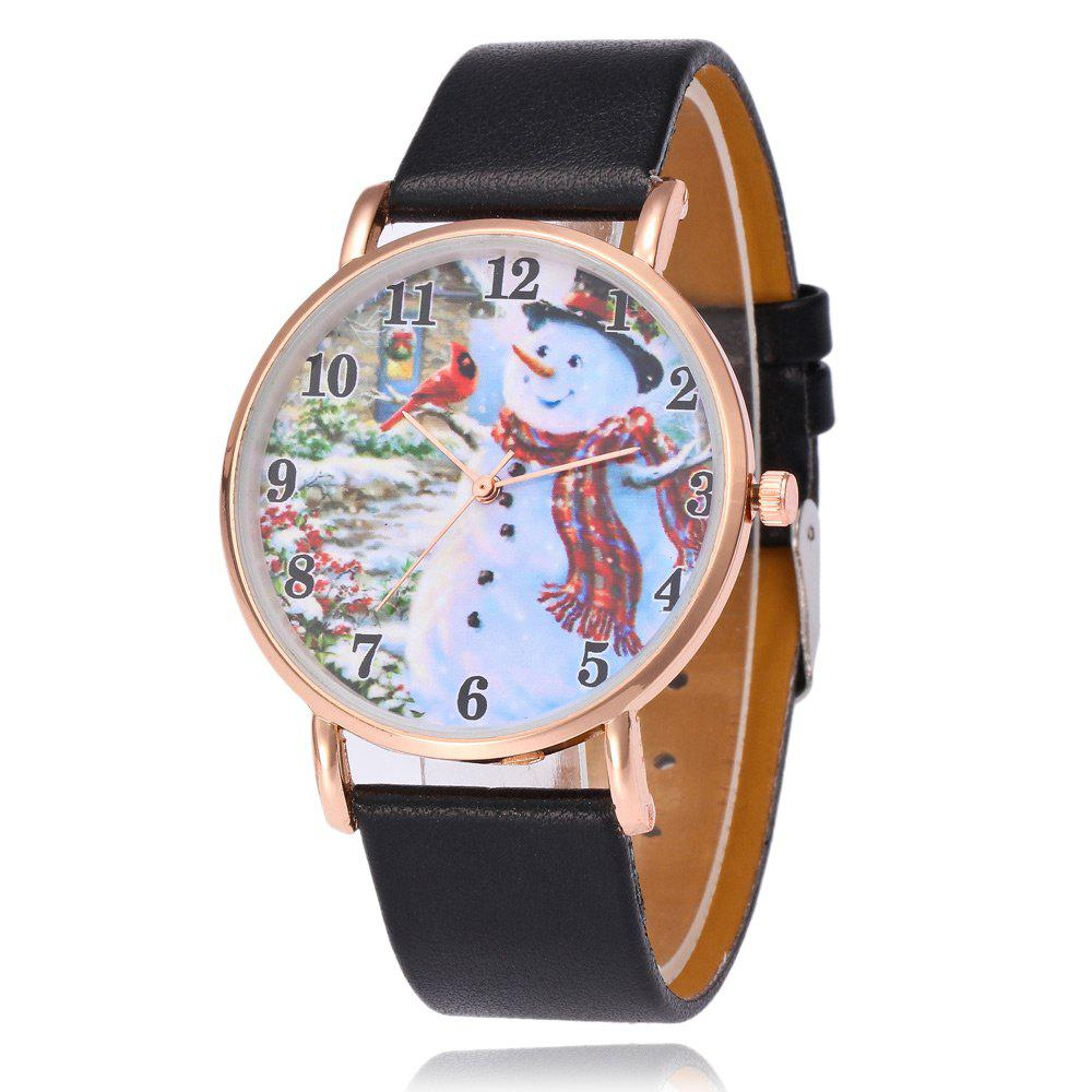 Faux Leather Strap Christmas Snowman Face WatchJEWELRY<br><br>Color: BLACK; Gender: For Women; Style: Fashion; Type: Quartz watch; Index Dial: Analog; Case material: Alloy; Band material: PU Leather; Movement: Quartz; Dial Shape: Round; Water-Proof: No; Case Thickness(MM): 8mm; Dial Diameter: 4cm; Band Length(CM): 24cm; Band Width(CM): 2cm; Package Contents: 1 x Watch;