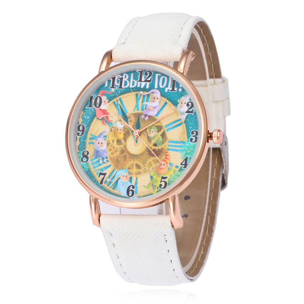Affordable Faux Leather Strap Christmas Santa Face Watch