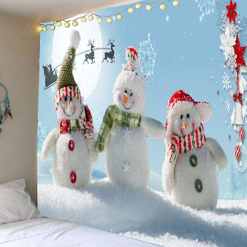 Christmas Snowman Family Patterned Wall Art TapestryHOME<br><br>Size: W59 INCH * L51 INCH; Color: BLUE AND WHITE; Style: Festival; Theme: Christmas; Material: Polyester; Feature: Removable; Shape/Pattern: Floral,Snow,Snowman; Weight: 0.2100kg; Package Contents: 1 x Tapestry;