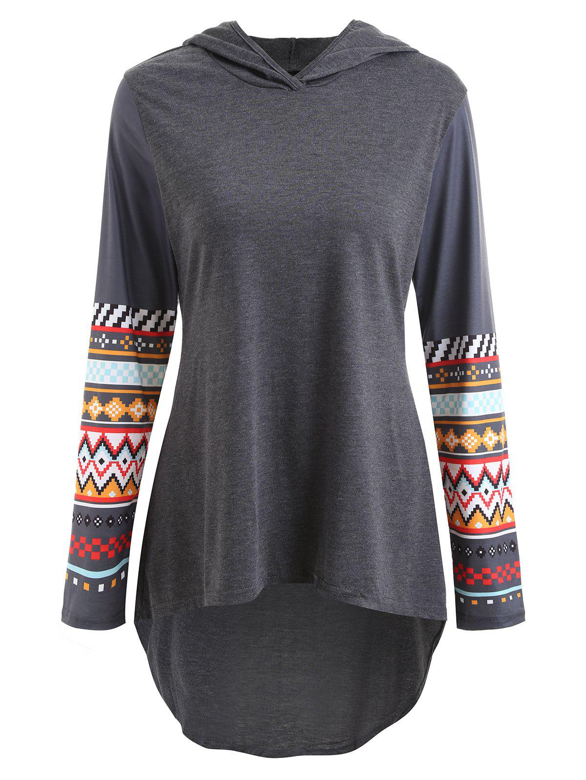 Sleeve Print High Low HoodieWOMEN<br><br>Size: 2XL; Color: GRAY; Material: Polyester,Spandex; Shirt Length: Long; Sleeve Length: Full; Style: Fashion; Pattern Style: Geometric; Season: Fall,Spring; Weight: 0.3000kg; Package Contents: 1 x Hoodie;