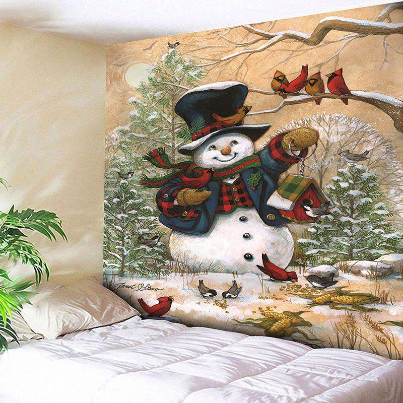 Wall Hanging Christmas Snowman Pattern TapestryHOME<br><br>Size: W59 INCH * L51 INCH; Color: COLORMIX; Style: Festival; Material: Nylon,Polyester; Feature: Removable,Washable; Shape/Pattern: Snowman,Tree; Weight: 0.1800kg; Package Contents: 1 x Tapestry;