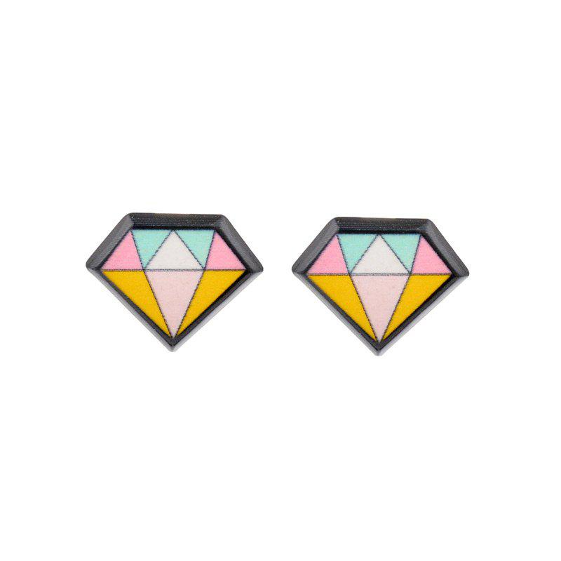 Diamond Geometric Stud EarringJEWELRY<br><br>Color: BLACK; Earring Type: Stud Earrings; Gender: For Women; Material: Plastic; Metal Type: Alloy; Style: Trendy; Shape/Pattern: Geometric; Length: 1.2cm; Weight: 0.0030kg; Package Contents: 1 x Earrings (Pair);