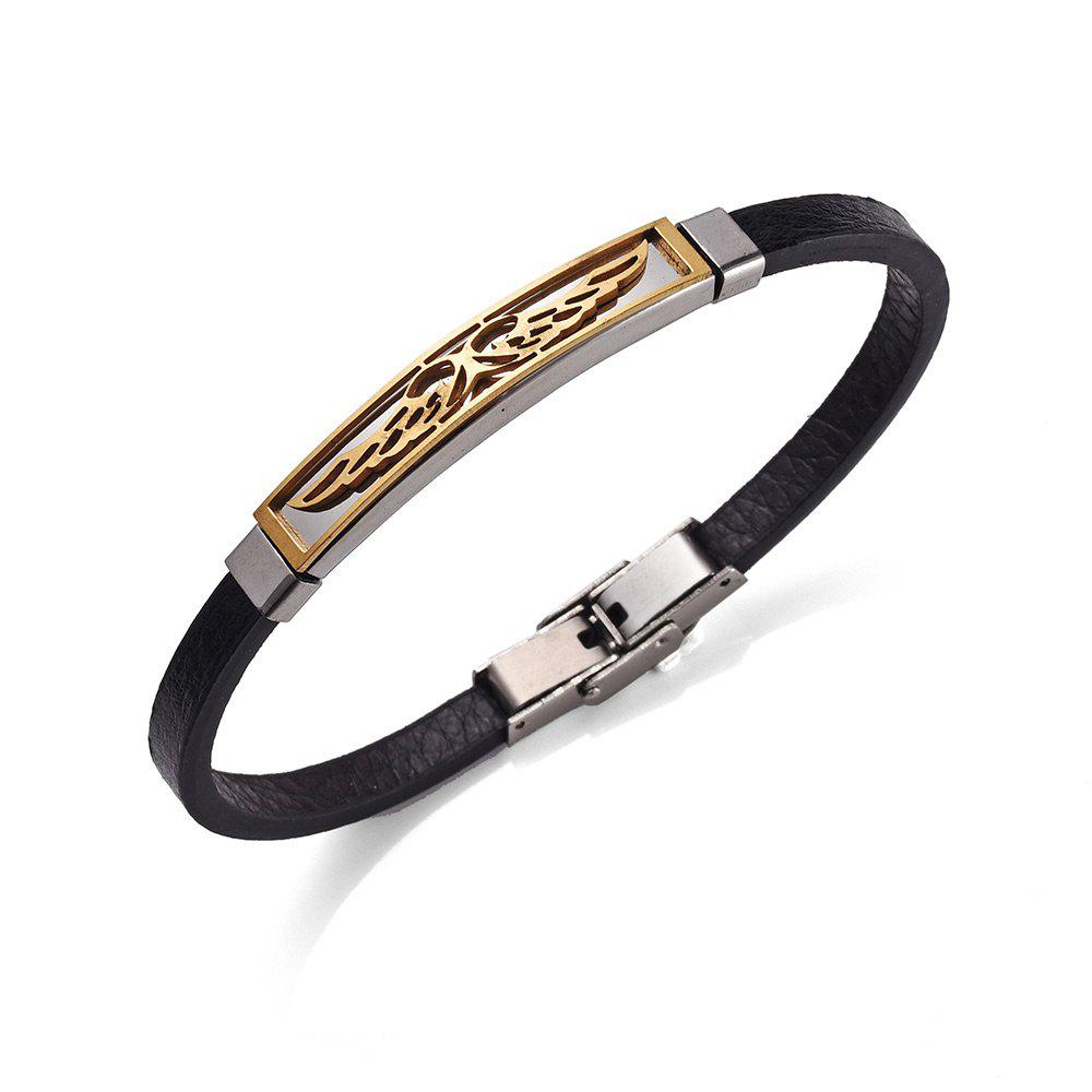 PU Leather Stainless Steel Angel Wings BraceletJEWELRY<br><br>Color: GOLDEN; Gender: For Men; Chain Type: Leather Chain; Style: Trendy; Shape/Pattern: Wing; Length: 21.3CM; Weight: 0.0200kg; Package Contents: 1 x Bracelet;