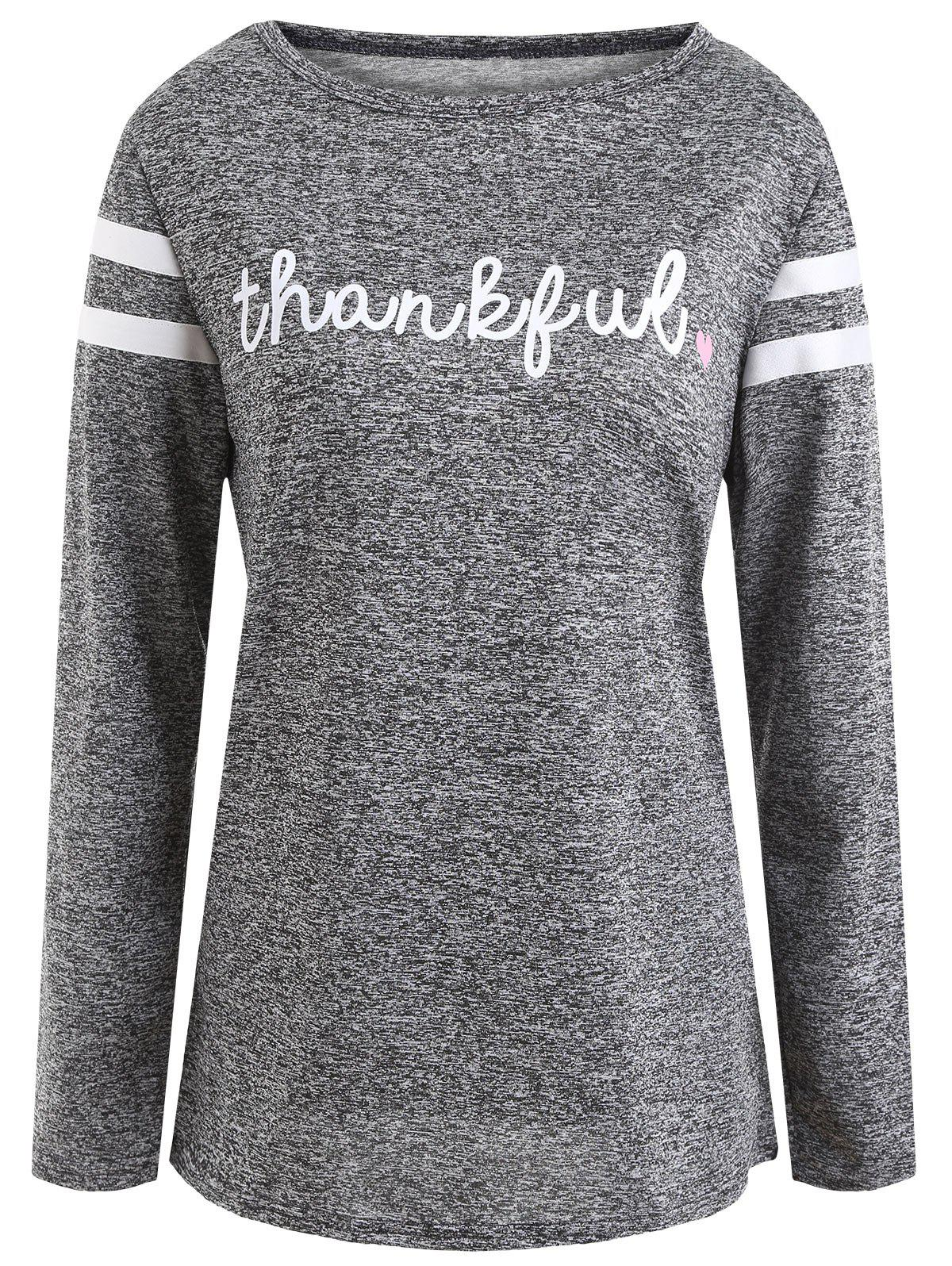 Thanksgiving Thankful Letter TopWOMEN<br><br>Size: M; Color: GRAY; Material: Polyester,Spandex; Shirt Length: Regular; Sleeve Length: Full; Collar: Round Neck; Style: Fashion; Pattern Type: Letter; Season: Fall,Spring; Weight: 0.2550kg; Package Contents: 1 x Top;