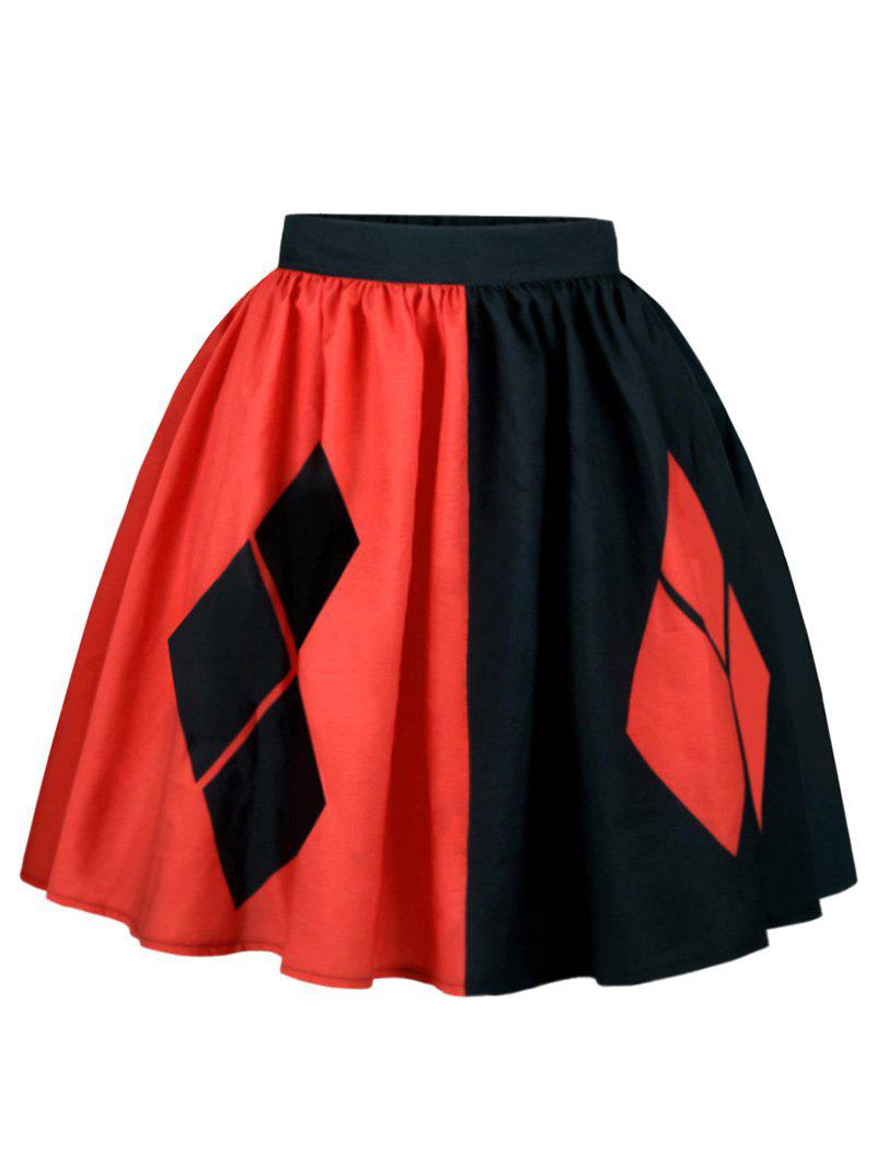 A Line Two Tone Rhombus SkirtWOMEN<br><br>Size: XL; Color: RED + BLACK; Material: Polyester; Length: Knee-Length; Silhouette: A-Line; Pattern Type: Others; Season: Fall,Spring; With Belt: No; Weight: 0.2500kg; Package Contents: 1 x Skirt;