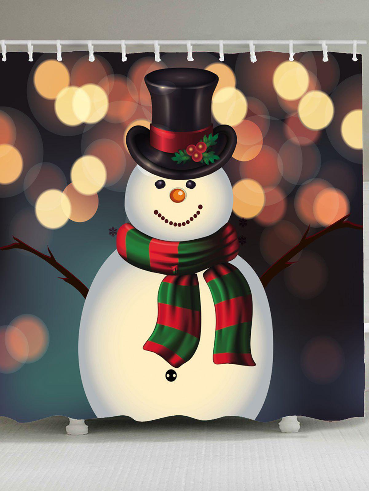 Christmas Snowman Pattern Bathroom Shower CurtainHOME<br><br>Size: W71 INCH * L71 INCH; Color: COLORFUL; Products Type: Shower Curtains; Materials: Polyester; Pattern: Snowman; Style: Festival; Number of Hook Holes: W59 inch * L71 inch:10, W71 inch * L71 inch:12, W71 inch * L79 inch:12; Package Contents: 1 x Shower Curtain 1 x Hooks (Set);