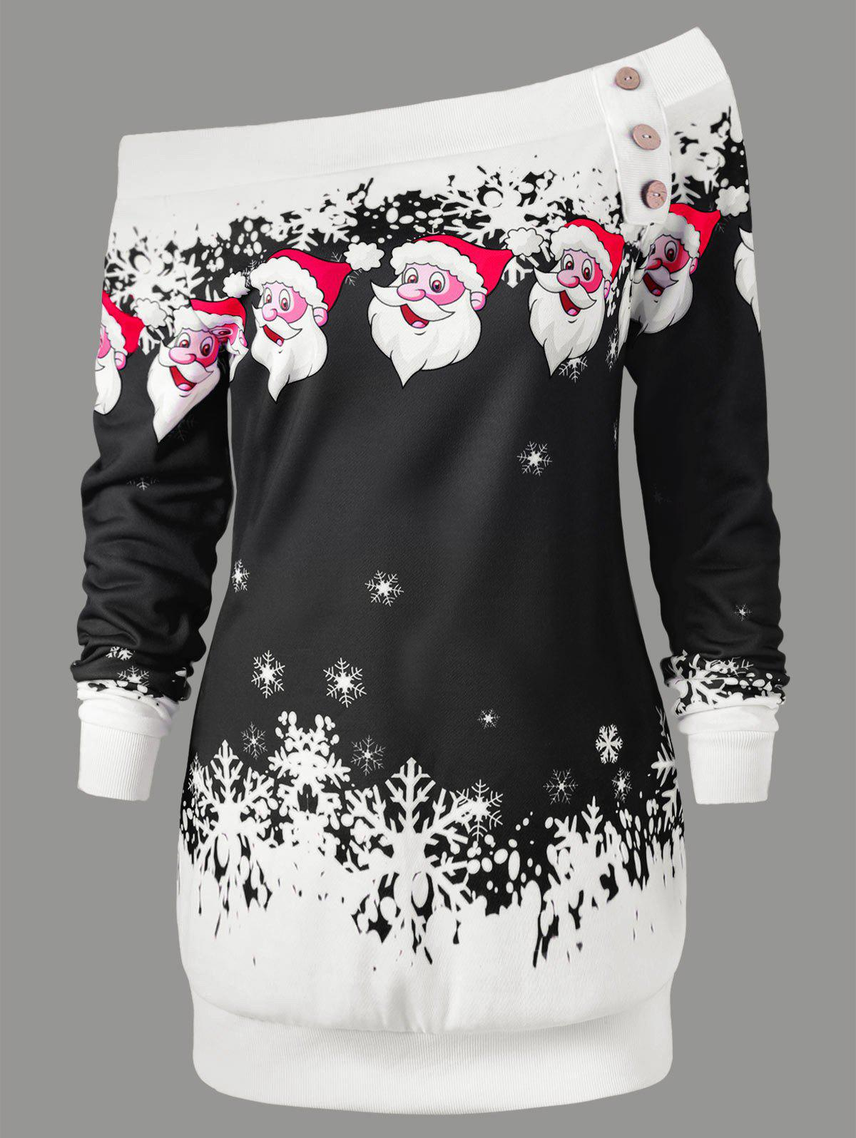 Pullover Santa Claus Snowflake Skew Neck Christmas SweatshirtWOMEN<br><br>Size: L; Color: BLACK; Material: Polyester,Spandex; Shirt Length: Long; Sleeve Length: Full; Style: Casual; Pattern Style: Character; Embellishment: Button; Season: Fall,Spring,Winter; Weight: 0.3000kg; Package Contents: 1 x Sweatshirt;