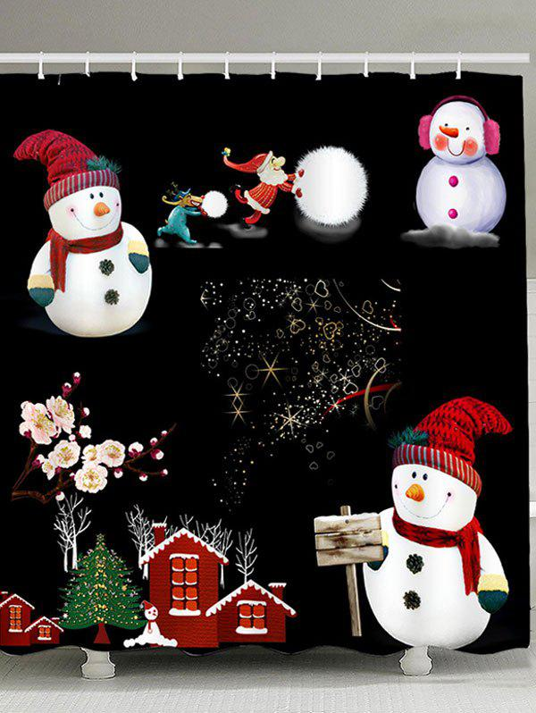 Christmas Snowmen Family Patterned Shower CurtainHOME<br><br>Size: W59 INCH * L71 INCH; Color: BLACK AND WHITE; Products Type: Shower Curtains; Materials: Polyester; Pattern: Floral,Snowman; Style: Festival; Number of Hook Holes: W59 inch * L71 inch:10, W71 inch * L71 inch:12, W71 inch * L79 inch:12; Package Contents: 1 x Shower Curtain 1 x Hooks (Set);