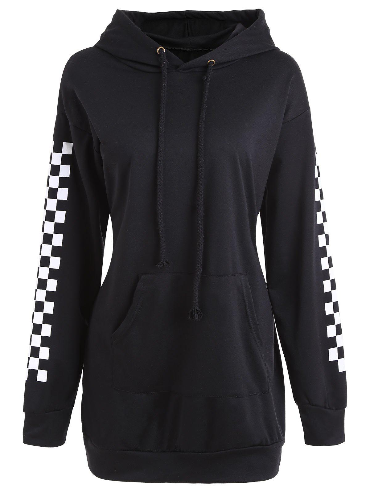 Drawstring Grid Mini Hoodie DressWOMEN<br><br>Size: M; Color: BLACK; Material: Cotton,Polyester; Shirt Length: Regular; Sleeve Length: Full; Style: Fashion; Pattern Style: Plaid; Season: Fall,Spring; Weight: 0.5500kg; Package Contents: 1 x Dress;