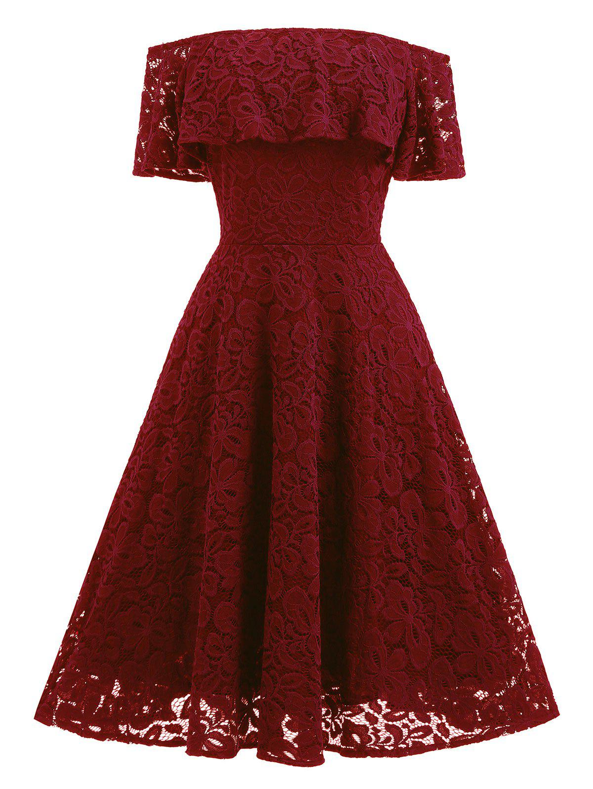 Lace Ruffle Vintage Off The Shoulder DressWOMEN<br><br>Size: S; Color: WINE RED; Style: Vintage; Material: Polyester,Spandex; Silhouette: A-Line; Dresses Length: Knee-Length; Neckline: Off The Shoulder; Sleeve Length: Short Sleeves; Embellishment: Lace; Pattern Type: Solid; With Belt: No; Season: Fall,Spring; Weight: 0.5500kg; Package Contents: 1 x Dress;