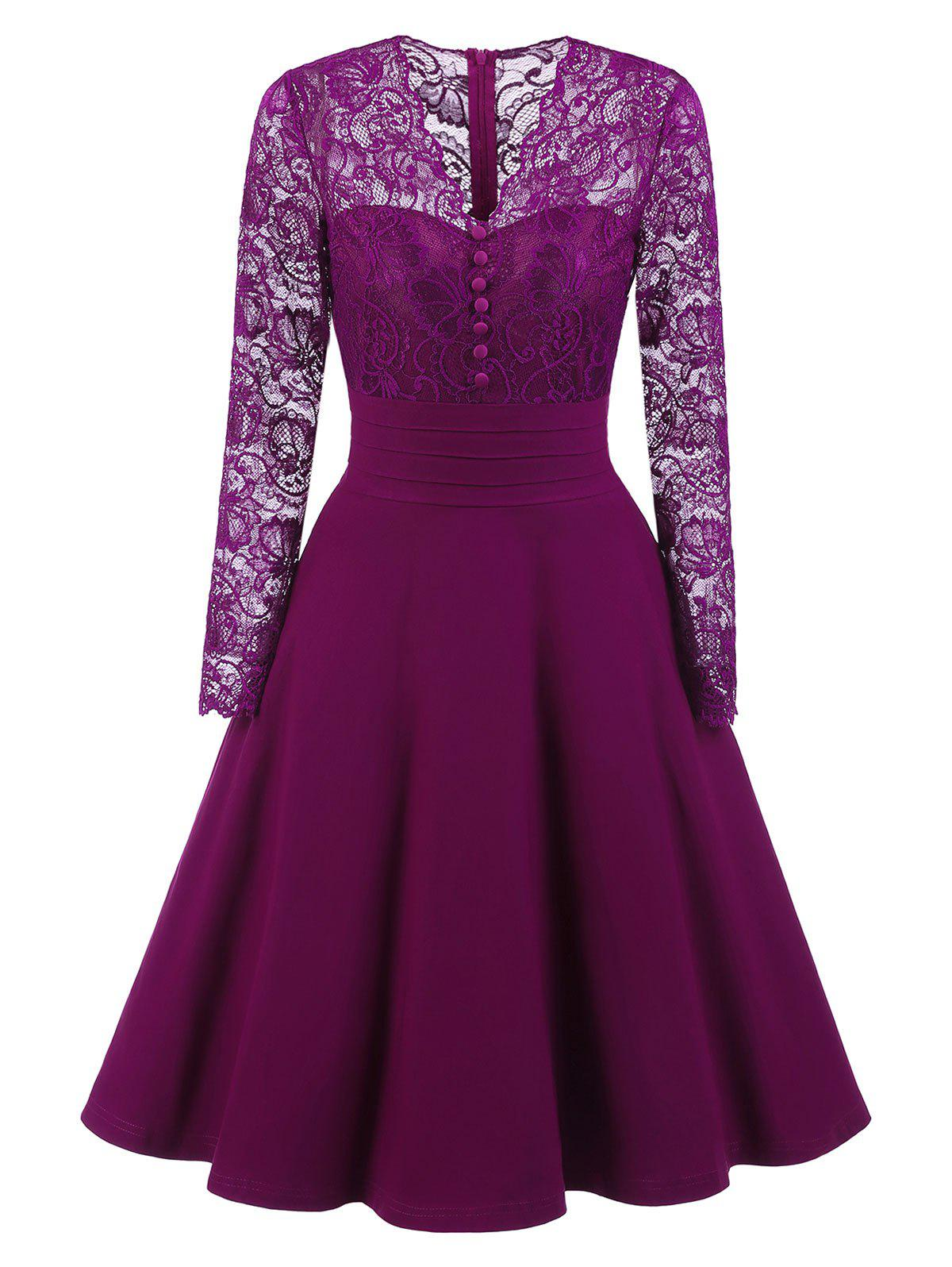 V-neck Lace Trim Vintage A Line DressWOMEN<br><br>Size: S; Color: PURPLE; Style: Vintage; Material: Polyester,Spandex; Silhouette: A-Line; Dresses Length: Knee-Length; Neckline: V-Neck; Sleeve Length: Long Sleeves; Embellishment: Lace; Pattern Type: Solid; With Belt: No; Season: Fall,Spring; Weight: 0.4550kg; Package Contents: 1 x Dress;
