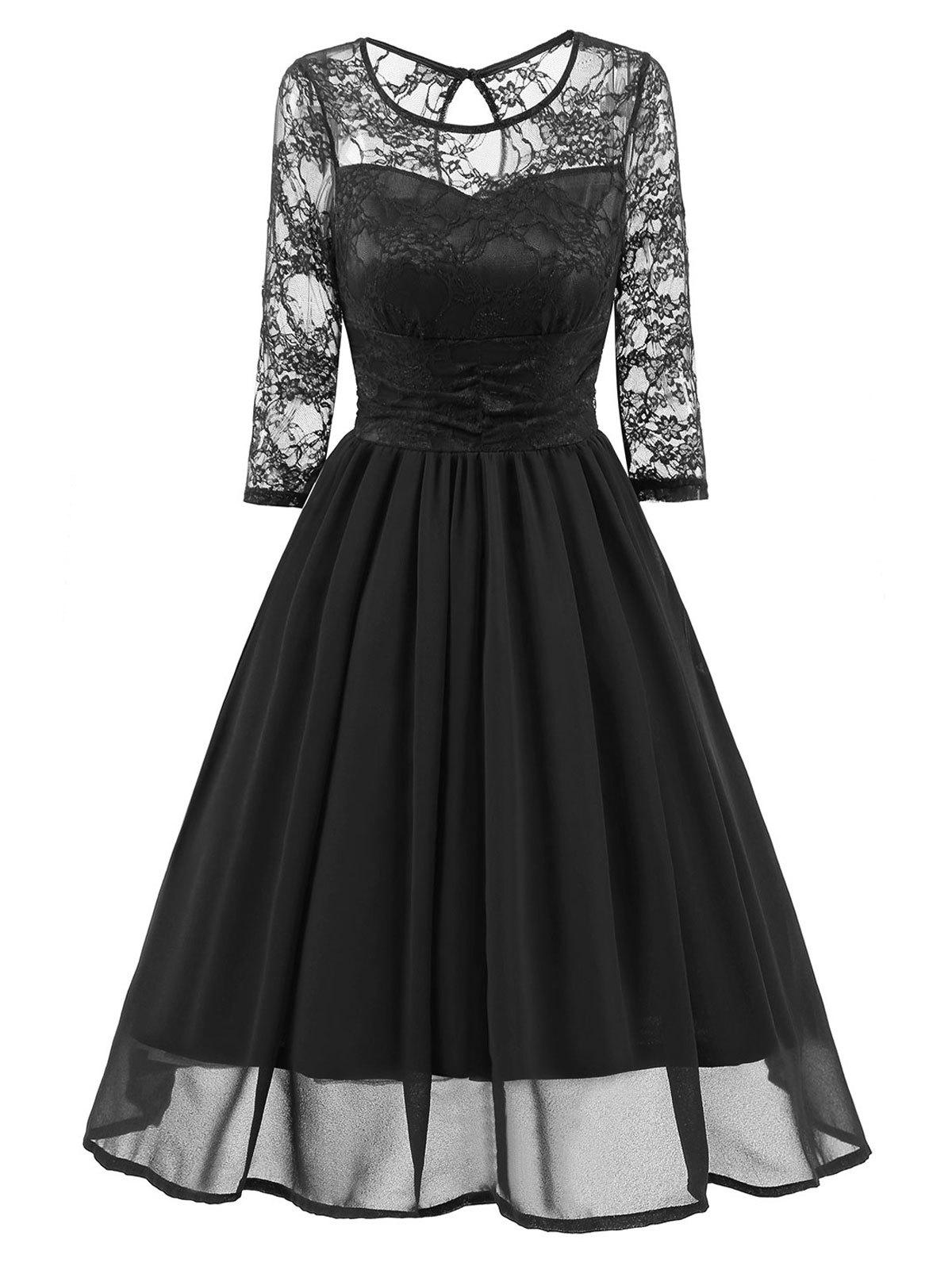 Lace Mesh Insert Vintage A Line DressWOMEN<br><br>Size: XL; Color: BLACK; Style: Vintage; Material: Polyester,Spandex; Silhouette: A-Line; Dresses Length: Knee-Length; Neckline: Round Collar; Sleeve Length: 3/4 Length Sleeves; Embellishment: Lace; Pattern Type: Solid; With Belt: No; Season: Fall,Spring; Weight: 0.4550kg; Package Contents: 1 x Dress;