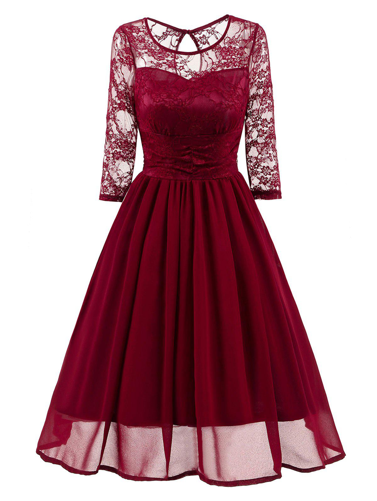 Lace Mesh Insert Vintage A Line DressWOMEN<br><br>Size: 2XL; Color: WINE RED; Style: Vintage; Material: Polyester,Spandex; Silhouette: A-Line; Dresses Length: Knee-Length; Neckline: Round Collar; Sleeve Length: 3/4 Length Sleeves; Embellishment: Lace; Pattern Type: Solid; With Belt: No; Season: Fall,Spring; Weight: 0.4550kg; Package Contents: 1 x Dress;