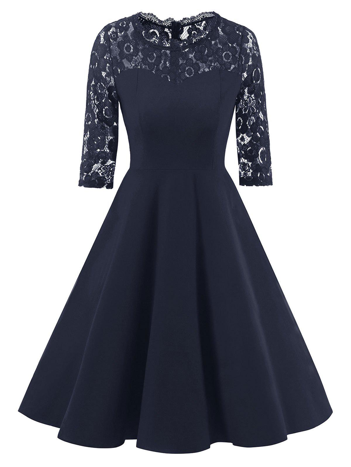 Vintage Formal Lace Trim A Line DressWOMEN<br><br>Size: M; Color: CADETBLUE; Style: Vintage; Material: Polyester,Spandex; Silhouette: A-Line; Dresses Length: Knee-Length; Neckline: Round Collar; Sleeve Length: 3/4 Length Sleeves; Embellishment: Lace; Pattern Type: Solid; With Belt: No; Season: Fall,Spring; Weight: 0.4050kg; Package Contents: 1 x Dress;