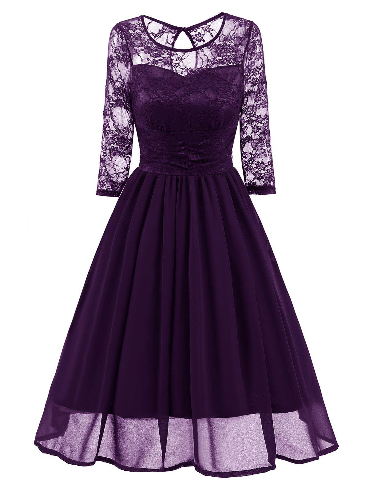 Lace Mesh Insert Vintage A Line DressWOMEN<br><br>Size: M; Color: PURPLE; Style: Vintage; Material: Polyester,Spandex; Silhouette: A-Line; Dresses Length: Knee-Length; Neckline: Round Collar; Sleeve Length: 3/4 Length Sleeves; Embellishment: Lace; Pattern Type: Solid; With Belt: No; Season: Fall,Spring; Weight: 0.4550kg; Package Contents: 1 x Dress;