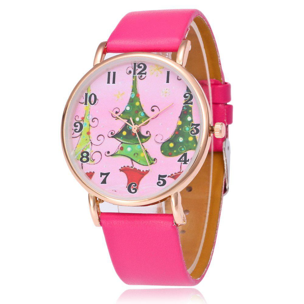 Faux Leather Strap Christmas Tree Face WatchJEWELRY<br><br>Color: TUTTI FRUTTI; Gender: For Women; Style: Fashion; Type: Quartz watch; Index Dial: Analog; Case material: Alloy; Band material: PU Leather; Movement: Quartz; Dial Shape: Round; Water-Proof: No; Case Thickness(MM): 8mm; Dial Diameter: 4cm; Band Length(CM): 24cm; Band Width(CM): 2cm; Package Contents: 1 x Watch;