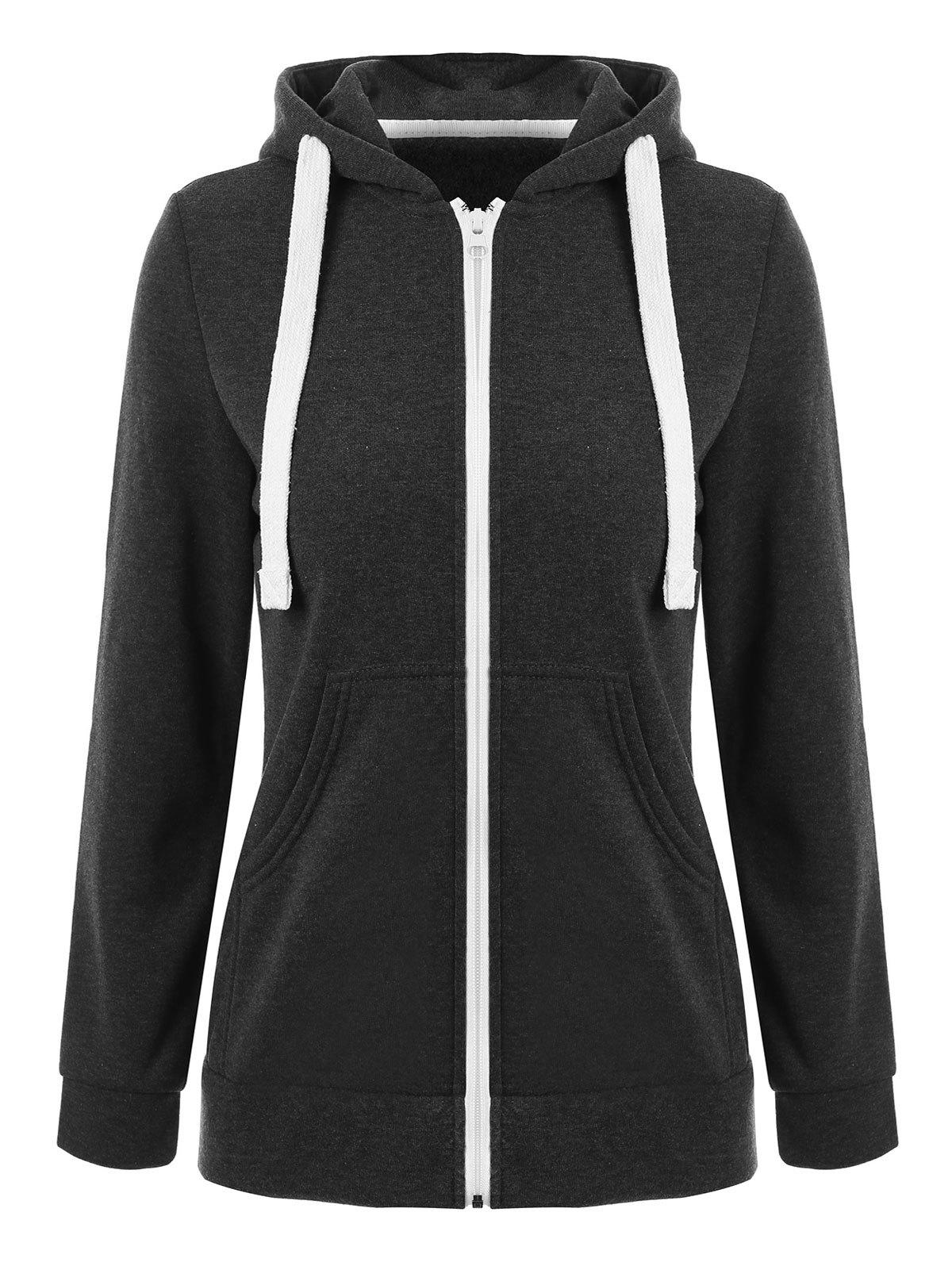 Front Pocket Zip Up HoodieWOMEN<br><br>Size: S; Color: DEEP GRAY; Material: Polyester; Shirt Length: Regular; Sleeve Length: Full; Style: Fashion; Pattern Style: Solid; Season: Fall,Spring; Weight: 0.4000kg; Package Contents: 1 x Hoodie;