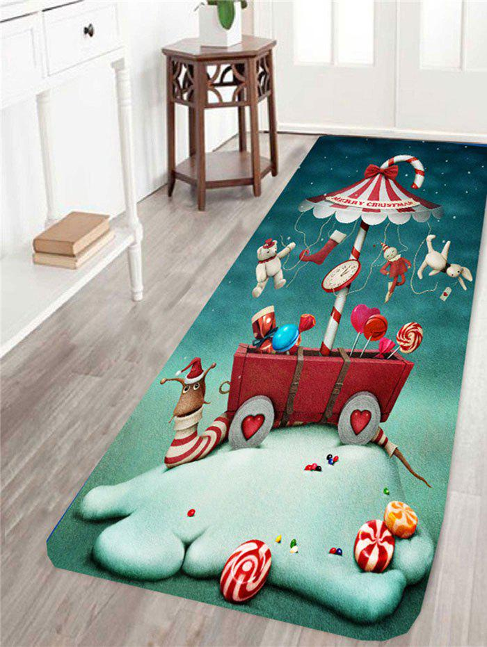 Skidproof Christmas Cartoon Snail Pattern RugHOME<br><br>Size: W24 INCH * L71 INCH; Color: COLORFUL; Products Type: Bath rugs; Materials: Coral FLeece; Pattern: Cartoon; Style: Cute; Shape: Rectangle; Package Contents: 1 x Rug;