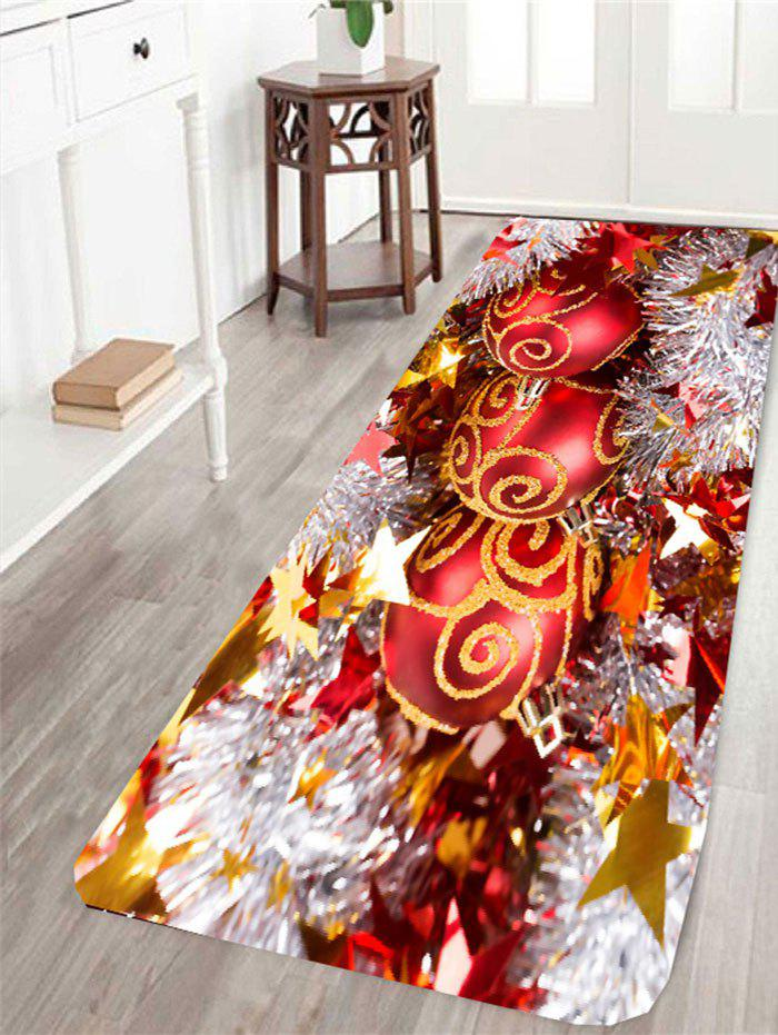 Antislip Christmas Baubles Printed RugHOME<br><br>Size: W16 INCH * L47 INCH; Color: COLORFUL; Products Type: Bath rugs; Materials: Coral FLeece; Pattern: Ball; Style: Festival; Shape: Rectangle; Package Contents: 1 x Rug;