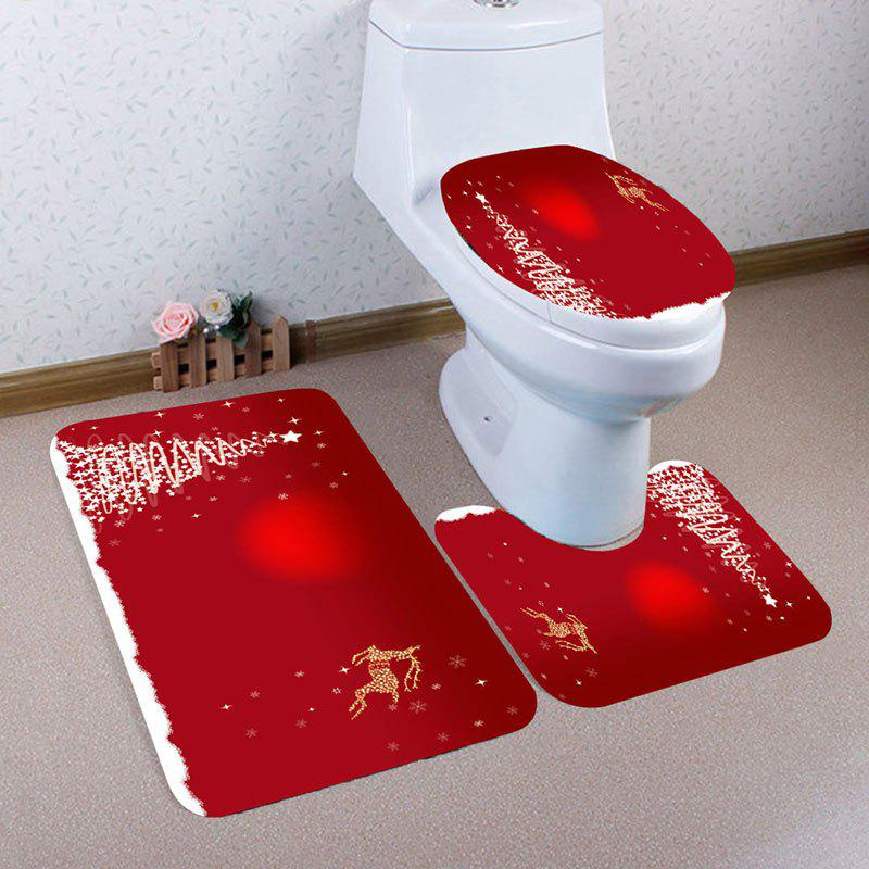 Christmas Star Tree Deer Pattern 3 Pcs Bath Mat Toilet MatHOME<br><br>Color: RED; Products Type: Toilet Mat Set; Materials: Coral FLeece; Pattern: Animal,Star; Style: Festival; Size: Pedestal Rug: 40*40CM, Lid Toilet Cover: 40*45CM, Bath Mat: 40*60CM; Package Contents: 1 x Pedestal Rug 1 x Lid Toilet Cover 1 x Bath Mat;