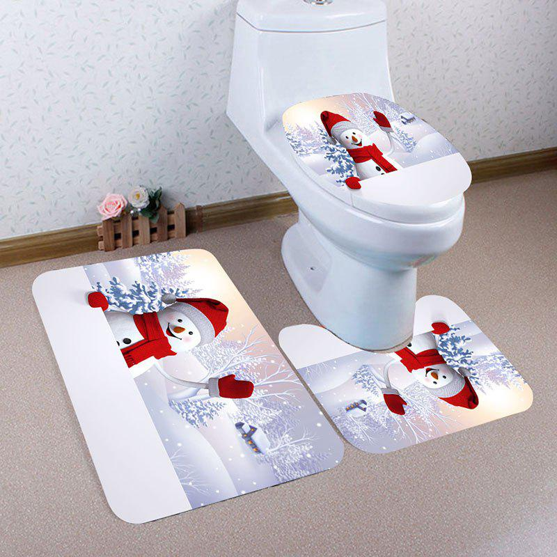 Fancy Christmas Snowman Village Pattern 3 Pcs Bath Mat Toilet Mat