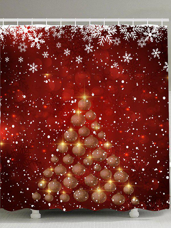 Snowflakes Balls Christmas Tree Patterned Shower CurtainHOME<br><br>Size: W71 INCH * L79 INCH; Color: RED AND WHITE; Products Type: Shower Curtains; Materials: Polyester; Pattern: Ball,Snowflake; Style: Festival; Number of Hook Holes: W59 inch * L71 inch:10, W71 inch * L71 inch:12, W71 inch * L79 inch:12; Package Contents: 1 x Shower Curtain 1 x Hooks (Set);