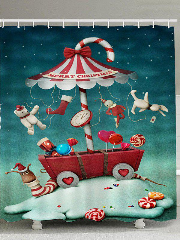 Christmas Ornaments Candy Patterned Shower CurtainHOME<br><br>Size: W71 INCH * L79 INCH; Color: COLORFUL; Products Type: Shower Curtains; Materials: Polyester; Pattern: Print; Style: Festival; Number of Hook Holes: W59 inch * L71 inch:10, W71 inch * L71 inch:12, W71 inch * L79 inch:12; Package Contents: 1 x Shower Curtain 1 x Hooks (Set);