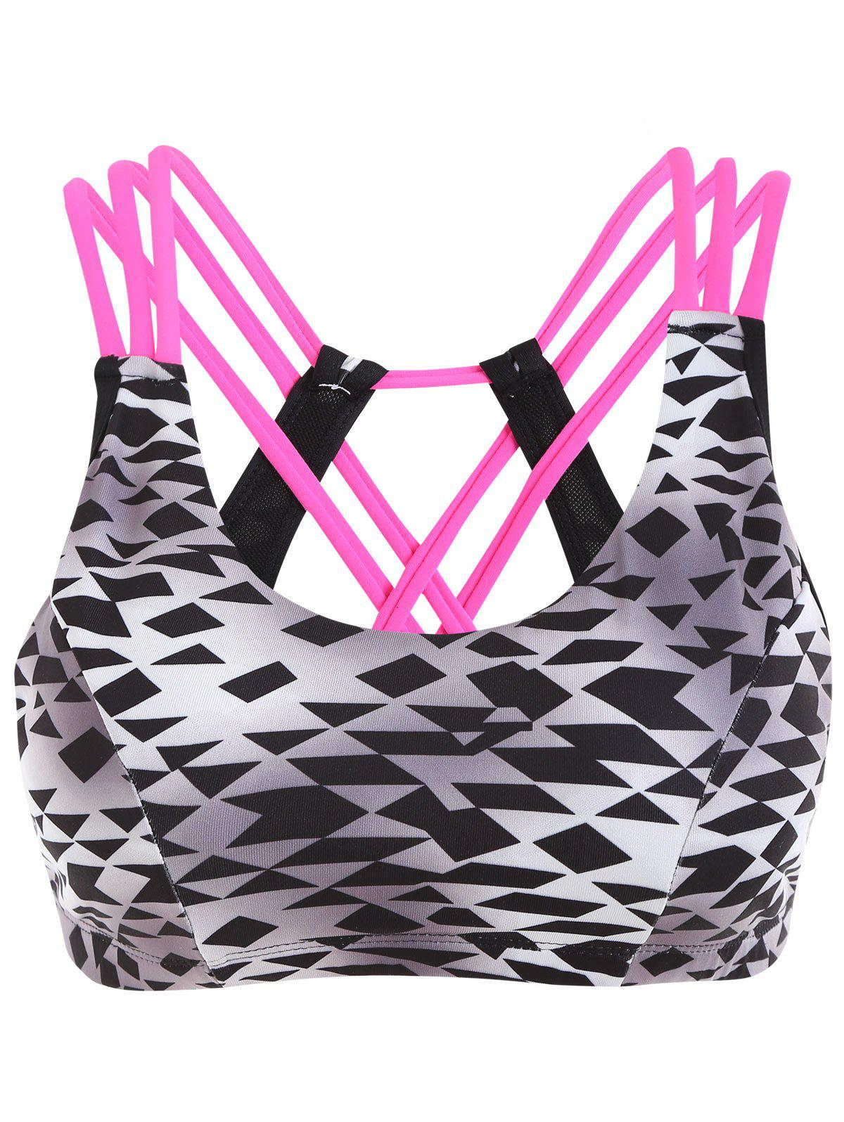 Geometric Print Strappy Sporty BraWOMEN<br><br>Size: S; Color: BLACK AND GREY; Materials: Nylon,Spandex; Bra Style: Padded; Cup Shape: 5/8 Cup; Support Type: Wire Free; Strap Type: Non-adjusted Straps; Closure Style: None; Pattern Type: Geometric; Embellishment: None; Weight: 0.1800kg; Package Contents: 1 x Bra;
