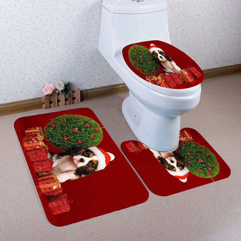 Store Christmas Gifts Dog Pattern 3 Pcs Bath Mat Toilet Mat