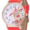 Faux Leather Strap Christmas Deer Face Watch -