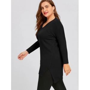 Plus Sizer High Low Drop Shoulde Tunic Sweater -