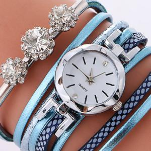 Rhinestone Wrap Bracelet Quartz Watch -