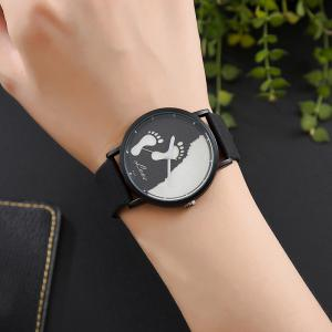 Faux Leather Strap Footprint Face Watch -
