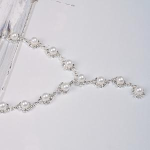 Artificial Pearl Beaded Necklace Earrings Jewelry Set -