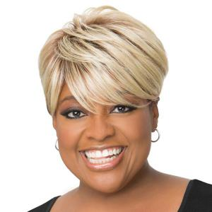 Short Side Bang Colromix Straight Pixie Human Hair Wig -