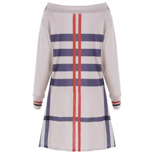 Plus Size Long Sleeve Slit Stripes Coat -