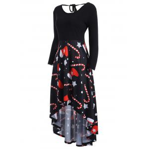 Christmas Print Plus Size High Low Dress -