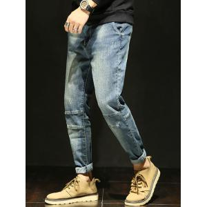 Tapered Fit Zipper Fly Faded Jeans -