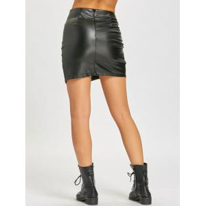 Lattice Mini Faux Leather Skirt -